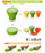 Eco Silicon Travel Coffee Tea mug cup lid portable  foldable  200ml 1 ea - $7.03