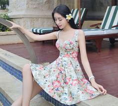 PF011 Sweet halter mini dress, breaking flower print, cotton, Size s,m,l, red - $28.80