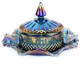 1950's Carnival Glass Purple/Blue Iridescent Covered Candy Dish with Tra... - $64.35