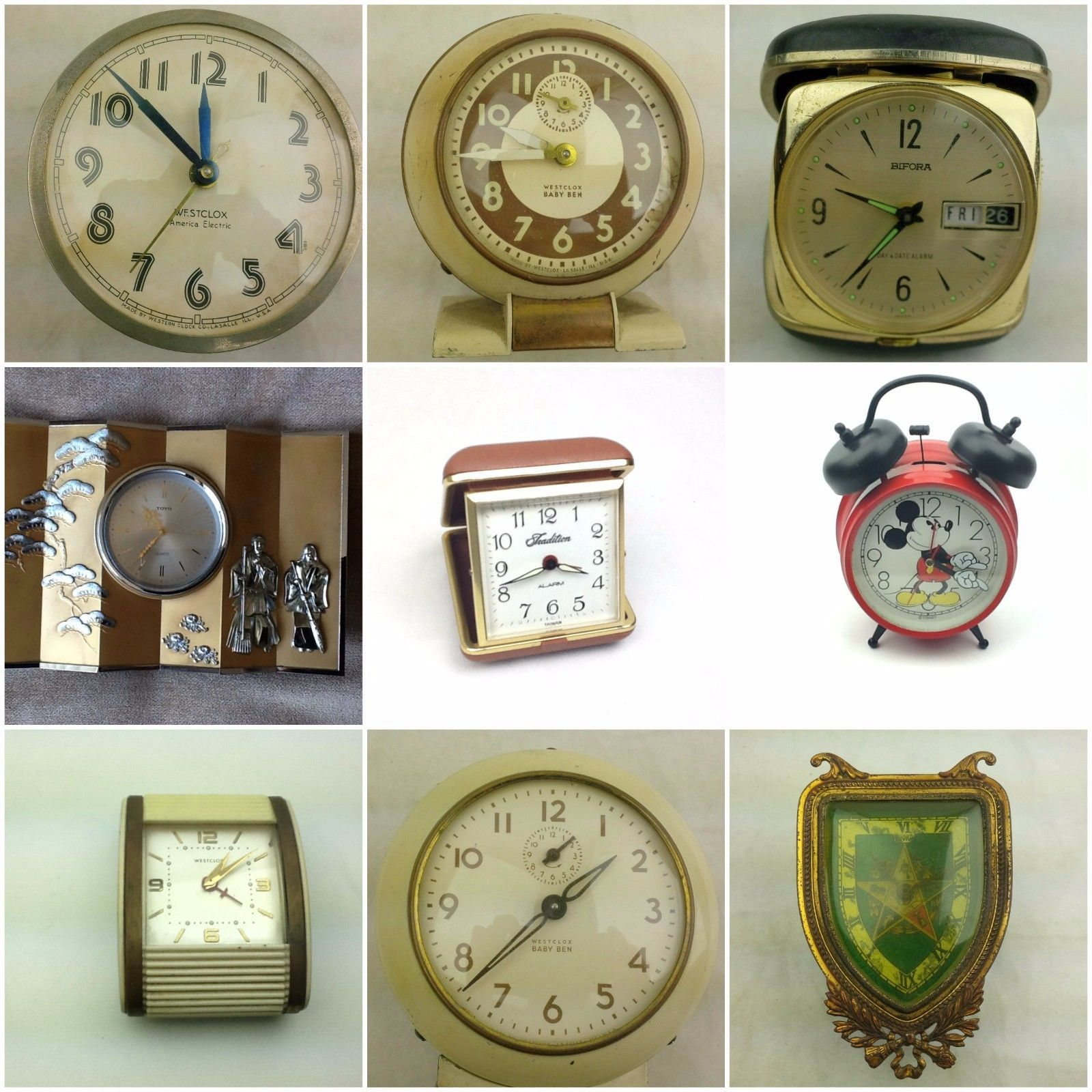 Clocks Travel Wind-Up Alarm Westclox Used Vintage Repair Parts Home Decor