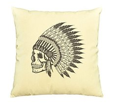 Vietsbay Skull wear indian headdress -1 Printed Cotton Pillows Case VPLC - $15.99
