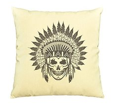 Vietsbay Skull wear indian headdress -2 Printed Cotton Pillows Case VPLC - $15.99