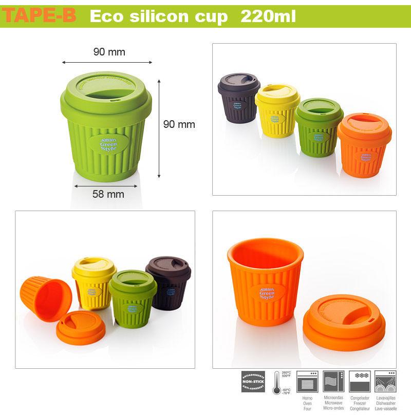 Eco Silicon Travel Coffee Tea mug cup lid portable 220ml Brand New to go 4 ea