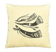 Vietsbay Doodle tribal hunting horns Printed Cotton Decorative Pillows C... - $15.99