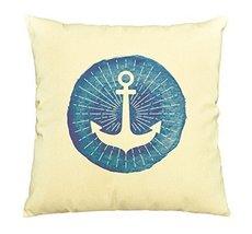 Vietsbay Watercolor nautical logo with an anchor Print Cotton Pillows Ca... - $15.99