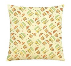 Hand drawn sketch of Ice cream & hot dog trolley Print Cotton Pillows Ca... - $15.99