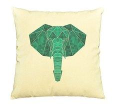 Vietsbay Elephant Head in geometric pattern style Print Cotton Pillows C... - $15.99
