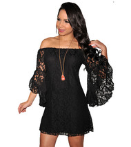 Sexy Women Slash Neck Flare Sleeve Floral Lace Crochet Club Party Dress ... - $17.50