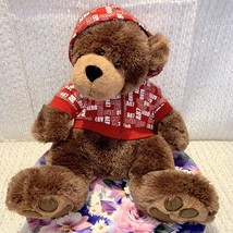 """Boyds Bears And Friends Areo 87 Red And White Hooded Sweatshirt 17"""" Stuf... - $19.79"""