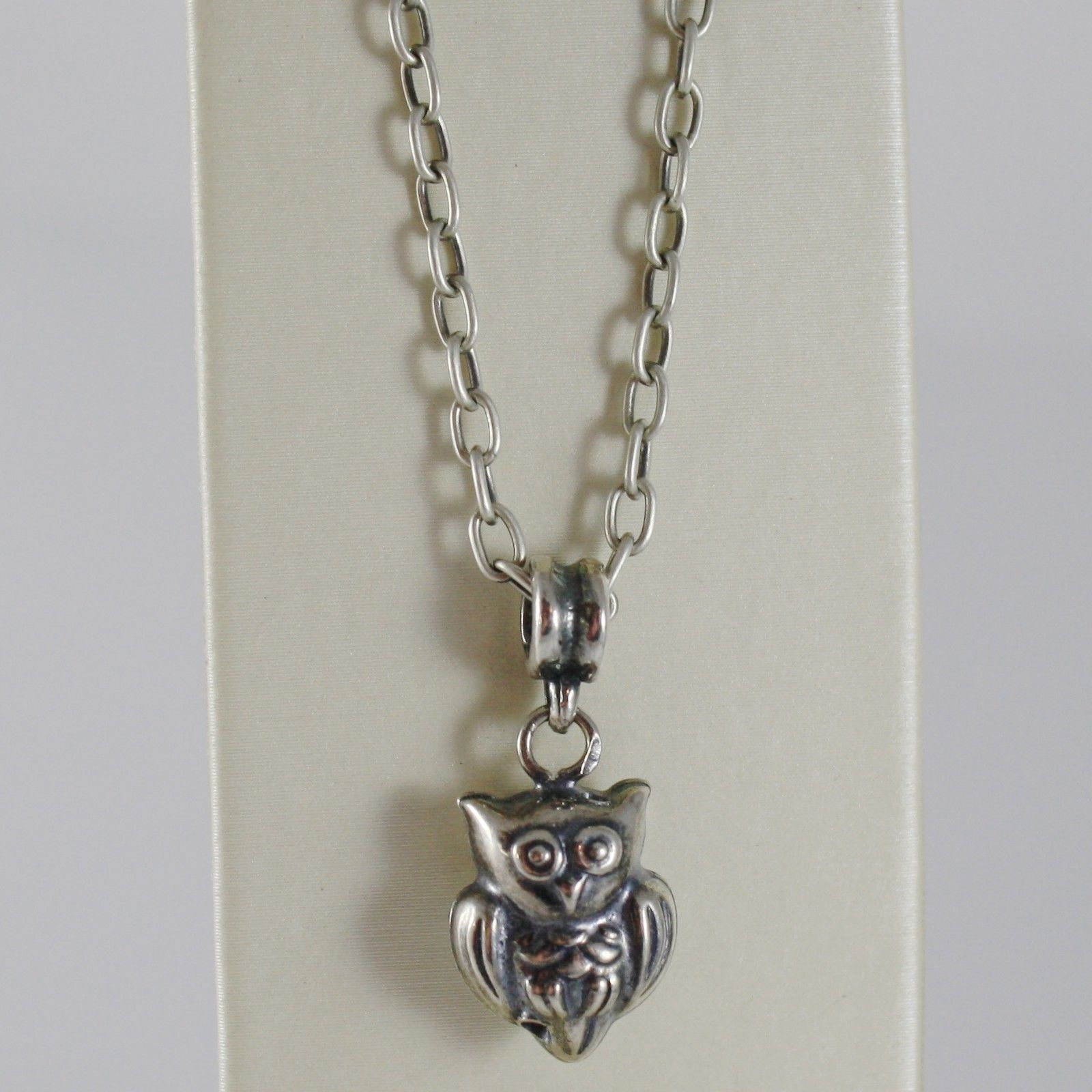 925 BURNISHED SILVER NECKLACE OWL BIRD PENDANT WITH OVAL CHAIN MADE IN ITALY
