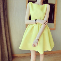 PF013 Sweet & elegant halter mini dress w bow, cotton, Size s,m,l, green - $28.80