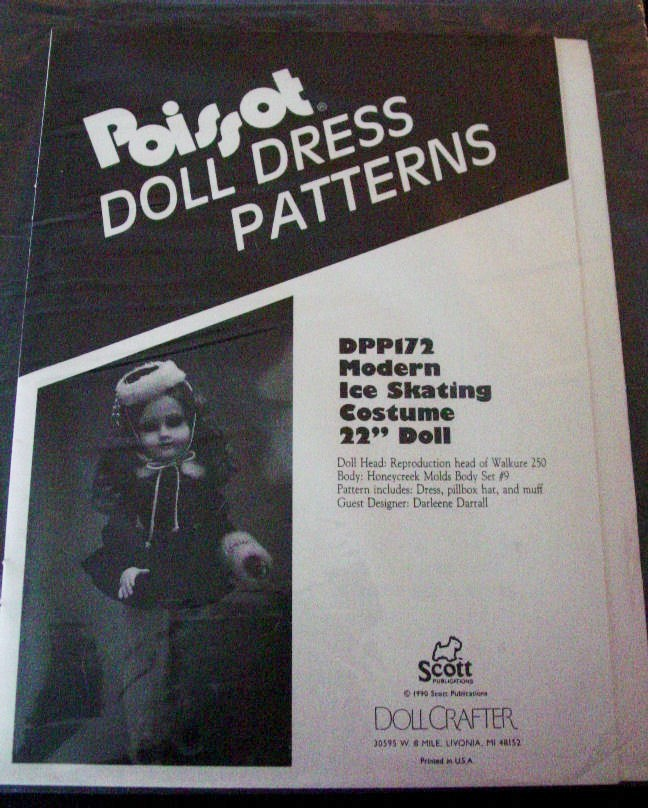 "Pattern Poissot # 172 Modern Ice Skating Costume 22"" Doll clothes"