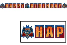 Batman Heroes and Villains Happy Birthday Plastic Banner 1 Count Party Supplies - $2.92