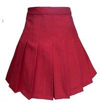 Women's High Waist Solid Pleated Mini Tennis Skirt ( S , Wine red) - $38.60