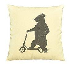 Vietsbay Bear driving scooter Printed Cotton Decorative Pillows Case VPLC - $15.99