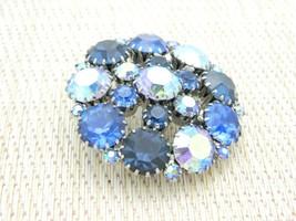 Blue Aurora Borealis Rhinestone Silver Tone Pin Brooch Vintage image 2