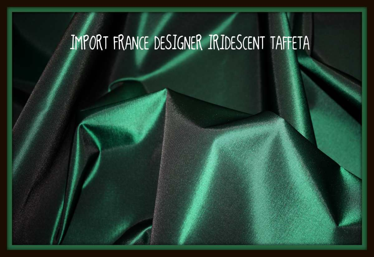 "DEEP RICH IRIDESCENT GREEN SILKY TAFFETA 60"" WIDE IMPORTED FROM FRANCE"