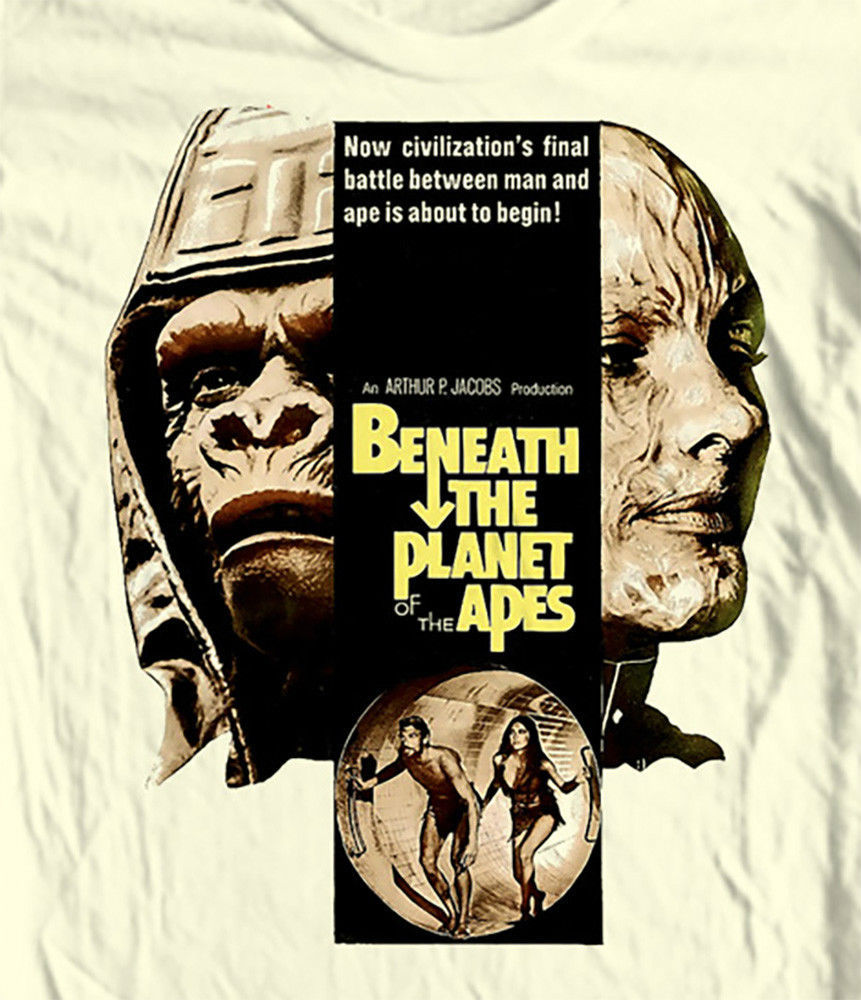 Beneath Planet of Apes T-shirt retro classic movie 100% cotton graphic white tee