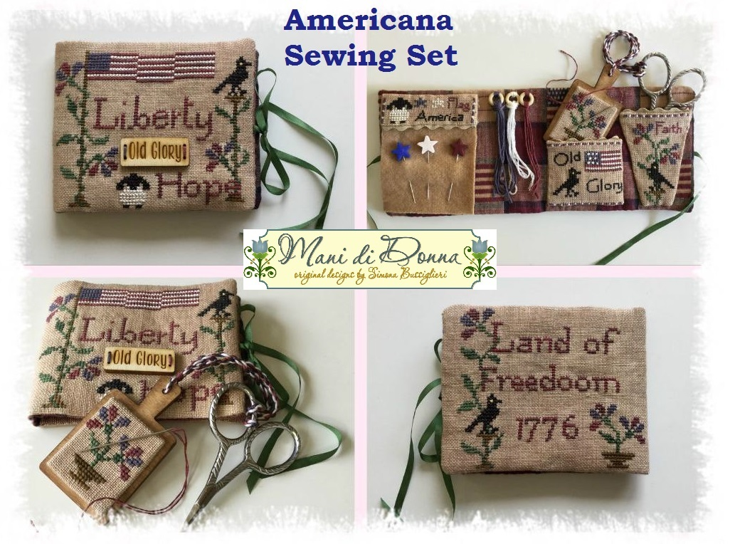 Americana Sewing Set with wooden tag cross stitch chart Mani di Donna - $22.00