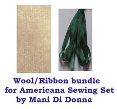 WOOL/RIBBON BUNDLE for Americana Sewing Set cross stitch chart Mani di D... - $6.00