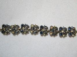 Vintage silver tone AB pink blue Rhinestone ornate bracelet Gorgeous chic - $20.00