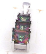 Mystic Topaz 3 stones necklace pendent new sliver plated - $20.00