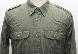 Signature 53 Levis Men Military Green Long Sleeve Shirt Polo Small 100% ... - $37.04
