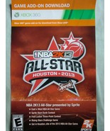 "NBA 2K13: ""All-Star Bonus Houston 2013"" xbox 360 game DLC card code - $13.44"