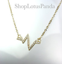 CHIC 18kt Gold Plated CZ Crystals Heartbeat ZigZag Pendant Dainty Necklace - $16.99