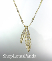 CHIC 18kt Gold Plated CZ Crystals LEAF LEAVES Pendant Petite Dainty Neck... - €14,47 EUR