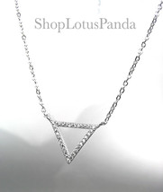 CHIC 18kt White Gold Plated CZ Crystals TRIANGLE Pendant Petite Dainty N... - $16.99