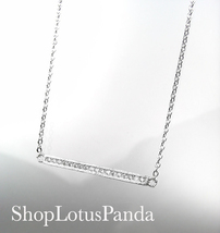 CHIC 18kt White Gold Plated CZ Crystals BAR Pendant Petite Dainty Necklace - $16.99