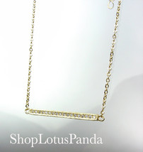 CHIC 18kt Gold Plated CZ Crystals BAR Pendant Petite Dainty Necklace - $16.99