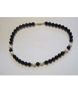 New necklace silver tone black bead chain dark black blue tigers eye stone - $18.00