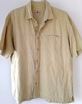 Woolrich Mens Shirt XL Yellow Light Green Short Sleeve Textured Plaid Ex... - $32.99