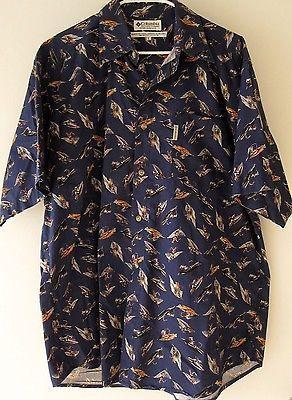 f65f242575424 Columbia Fishing Shirt Large Navy Blue Bird and 50 similar items. 1