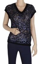ELIE TAHARI Women's Frederica Navy Blue Cotton Sleeveless Sequin Sweater... - $109.00