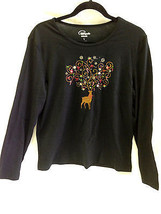 CAPPAGALLO 9709 NEW Womens Black Embroidered Christmas Casual Top Shirt LG - $14.95