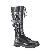 "DEMONIA Gravel-20 1 1/4"" Heel Knee-High Boots - Black Leather - $87.95"