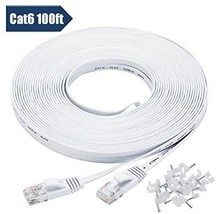 Cat 6 Ethernet Cable 100 Ft White With Cable Clips - Flat Internet Network - - - $45.43