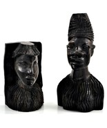 Vintage African Hand Carved Ebony Wood Male Head Statue's Bust - $138.59