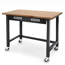 Wood Top Workbench on Wheels + Organizer Drawer - Tools Wood Work Office... - $271.10