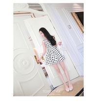 PF014 Sweet A dress w black spots, satin, Size s,m,l, white - $28.80