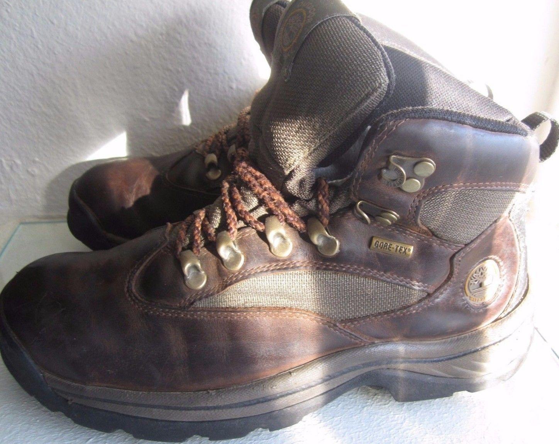Timberland Men`s Boots Size 8 M Chocurua Trail GoreTex Brown Leather Green Trim