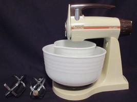 Sunbeam Mixmaster 235 Watts Vintage 12 Speed WORKS! Mixer 2 Milk Glass B... - $89.07