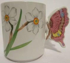 RARE! Action Japan Butterly Handle 3D Flower Mug Retro Vintage Cup Coffe... - $17.79