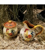 RARE Find Maxcera Corp BAJA ROOSTER Hand Painted Creamer & Sugar Bowl Set - $39.95
