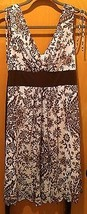 Womens Brown & Beige Paisley Print Dress Size Medium Charolette Russe EUC! - $9.90