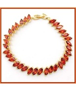 """Marquise Red Sapphire Austrian Crystal CZ 18k Gold Plated 8"""" Tennis Bra... - $89.95"""