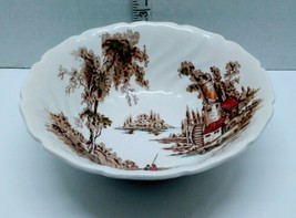 """Johnson Brothers The Old Mill Round Vegetable Serving Bowl 8 3/8"""" x 2 5/8"""" Brown - $28.70"""
